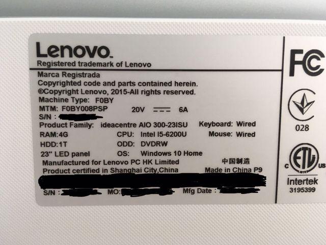 """Ordenador de sobremesa Lenovo """"All in One"""""""