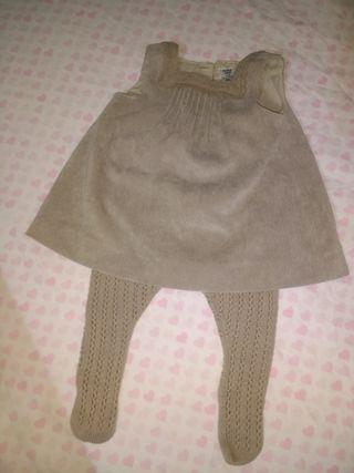 vestido + leotardos 3/6 meses