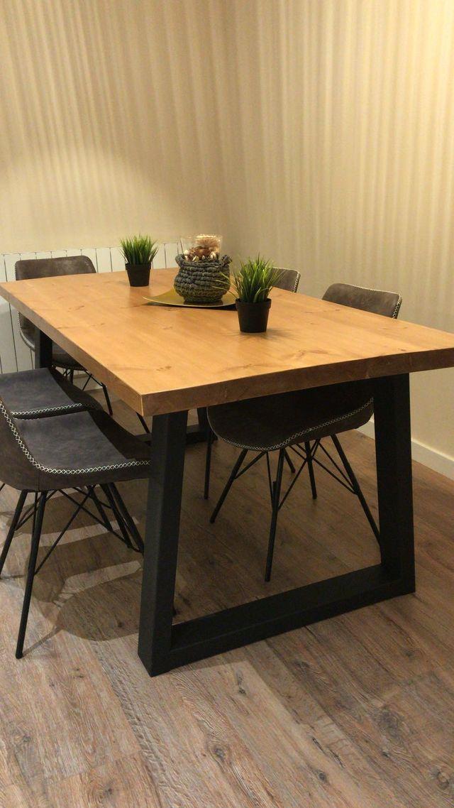 Mesa madera maciza a medida de segunda mano por 630 en for Mesa cocina madera maciza