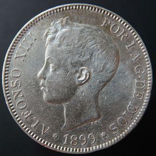 Moneda . 5 pesetas 1899 (18-99) SG V . Plata