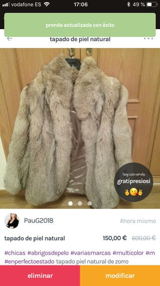 Abrigo piel natural zorro patagónico argentino