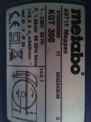 Ingletadora Sierra Circular METABO KGT 300