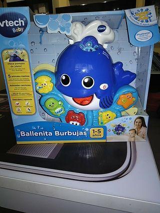ballena burbujitas juguete baño