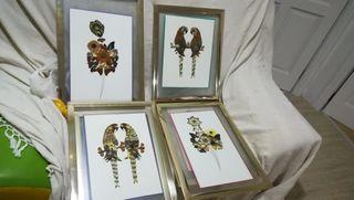 cuadro vintage hecho con mariposas