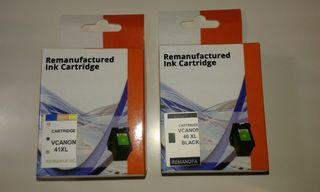 Cartuchos tinta(color y negro) para Canon 40 y 41