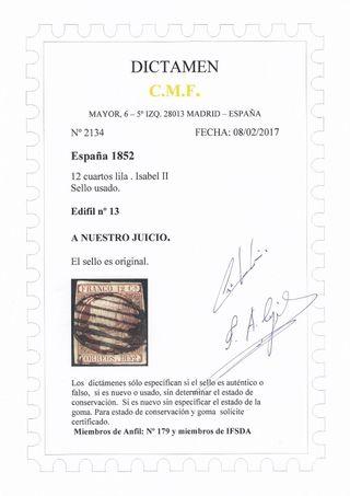 sello del 1852 de 12 cuartos edifil n 13