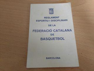 Llibre antic Federacio Catalana Basquetbol