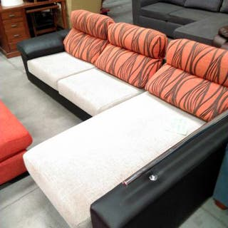 sofa cheslong beis y negro