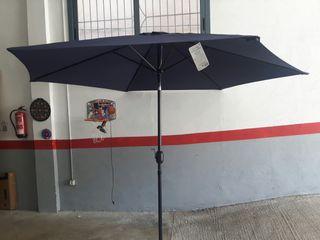 parasol azul marino de jardín 3 m