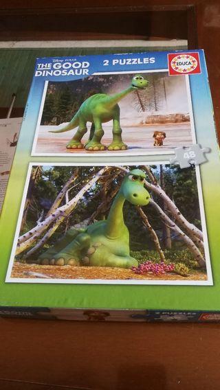 2 puzzles dinosaurios completos