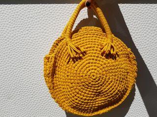 Bolso de trapillo a crochet color mostaza 30cm
