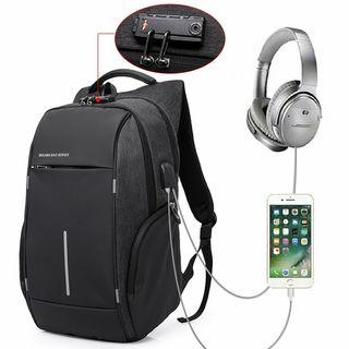 NUEVA Mochila impermeable,USB+headphones+antirrobo