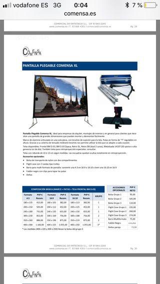 Pantalla proyección plegable COMENSA XL