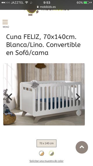 Cuna + colchon mobikids convertible a cama 70x140