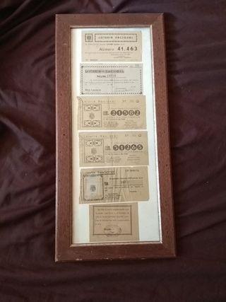 cuadro de loterías antiguo 1945 1949 1961 selladas