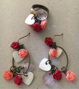 Pendientes y anillo V&L