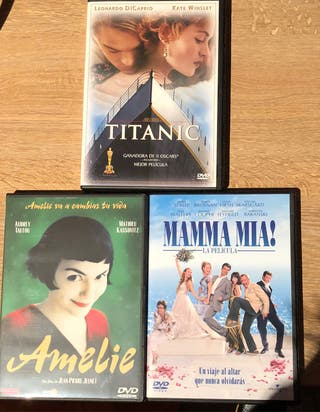 Pack DVD películas Titanic Mamma mia Amelie