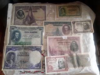 9 billetes antiguos de España