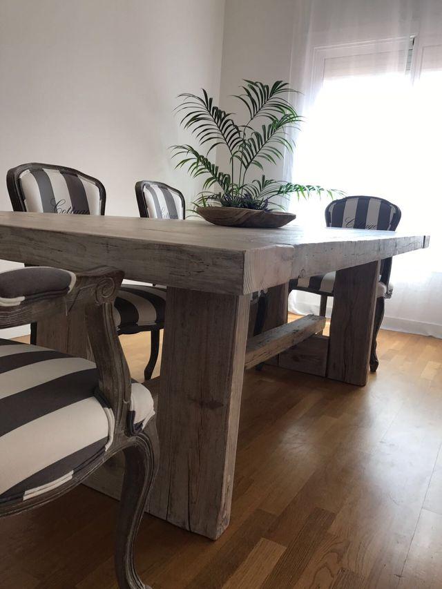 Mesa grande de comedor de madera maciza de segunda mano por ...