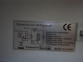 Nevera - Minibar Termoeléctrico 40L.