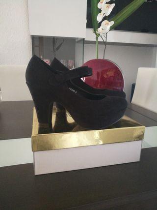 Zapatos tacones plataforma negros