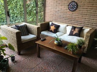 Conjunto sofá de mimbre