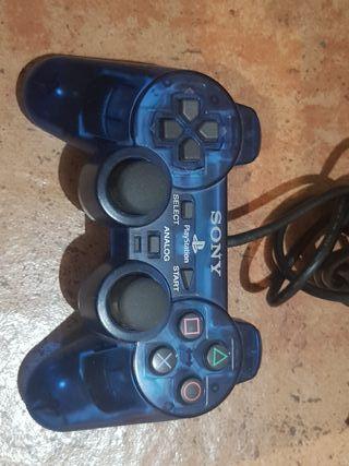 Mando PS2 transparente azul