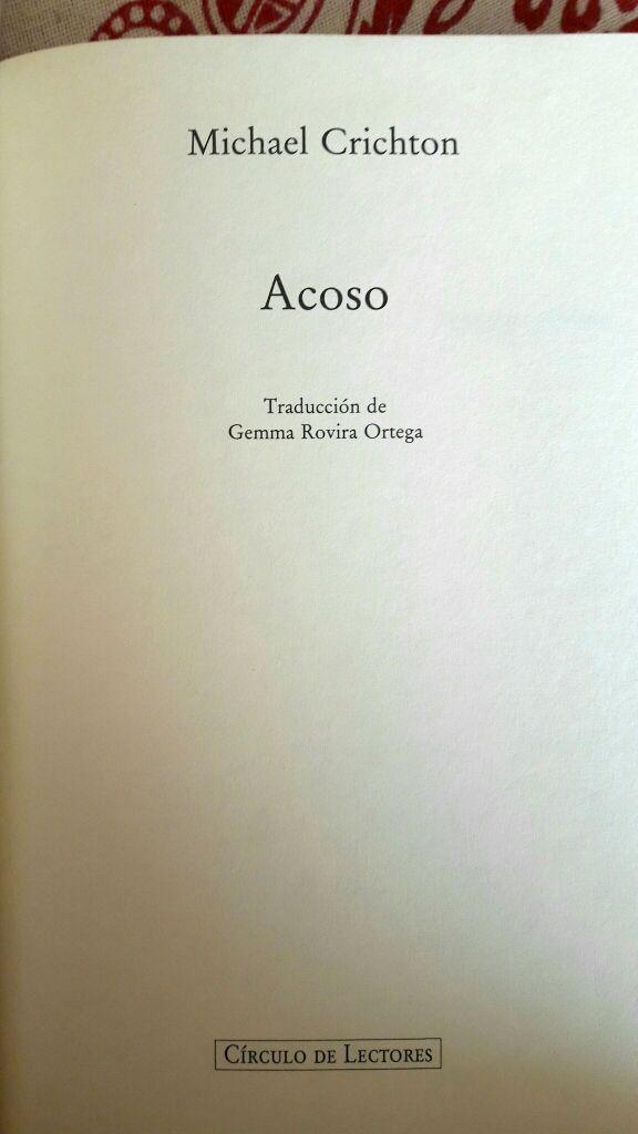 Libro Acoso de Michael Crichton
