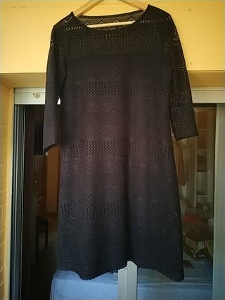 vestido negro encaje elastico talla 44