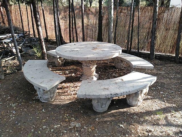Mesa y bancos de piedra de jardin de segunda mano por 150 - Bancos de piedra para jardin ...