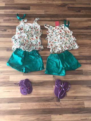 Pack de ropa y havaianas de 4-5 y de 6-7 años