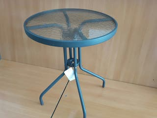 mesa de jardín cristal acero gris 60 cm de diámetr