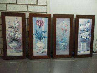 4 Láminas enmarcadas con cristal