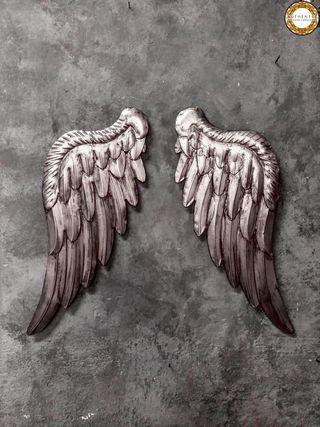 Alas Angel Plata Envejecida 47cm Alto Metalicas