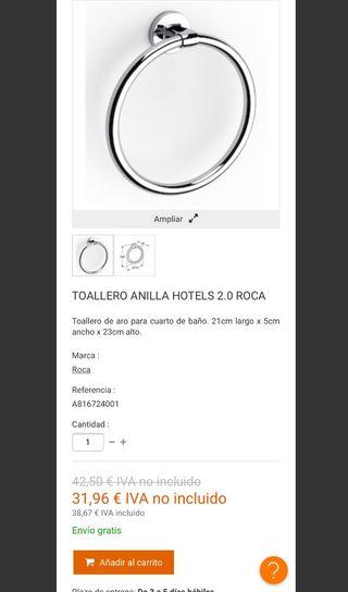 Toallero Anilla Marca Roca (2 unidades)