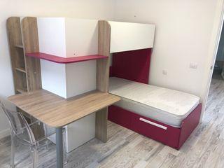 Dormitorio infantil cama doble con escritorio