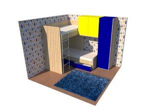 """Habitación infantil 2 camas de 90 cm (litera """"L"""")"""