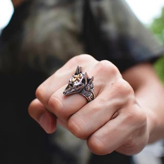 Egypt Cross Anubis Wolf Handsome Ring