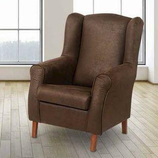 sillón orejero marrón nuevo