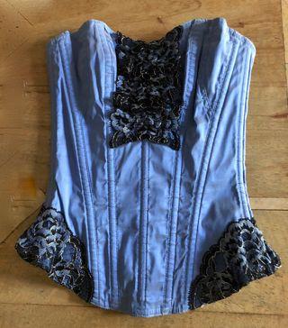 corset souple Cadolle Soie bleue et dentelle T. S