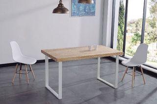 Mesa comedor industrial pata blanca 140cm