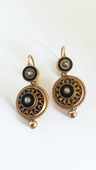 Pendientes antiguos s.XIX Oro 14k Esmalte y Perlas