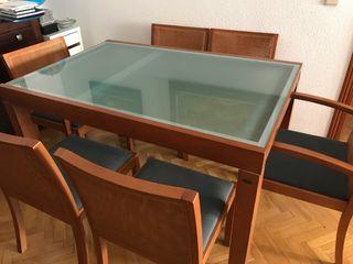 Conjunto mesa comedor extensible + 6 sillas