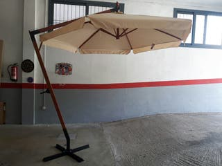 Parasol excentrico 300 cm. mastil de MADERA de 5