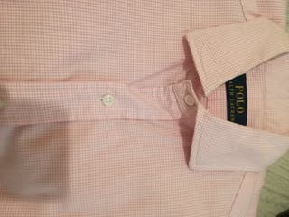camisa polo rosa cuadros talla s o m
