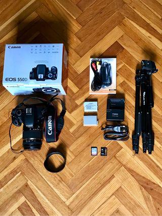 Pack CANON 550D + baterías + tarjetas + trípode