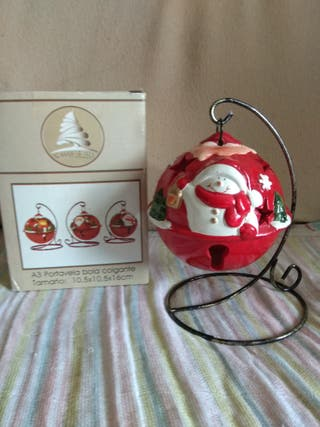 Portavela bola colgante+2tiras decoración navideña
