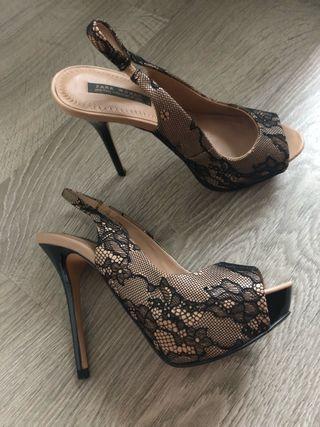 Zara Negro Segunda 0xznq Mano Y 38 De 20 Talla Tacón Zapatos Rosa Por qXgfOxw