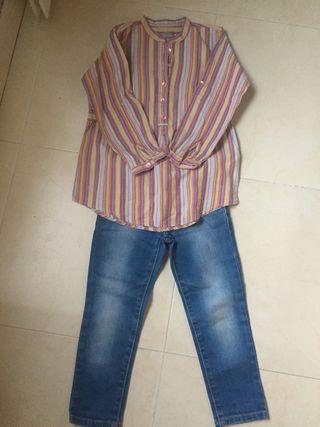 Conjunto tejanos y camisa niña