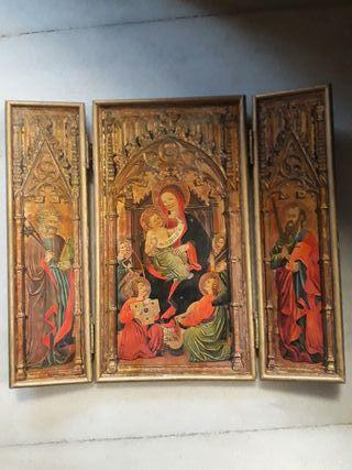 ARTE RELIGIOSO.Tríptico antiguo pan de oro